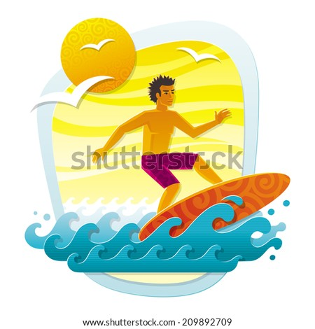 Illustration with surfer in tropical sea - imitation of applique from color paper shapes