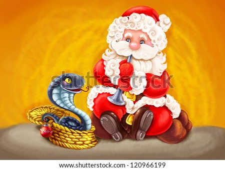 Illustration with symbols of Christmas and Chinese New Year. - stock photo