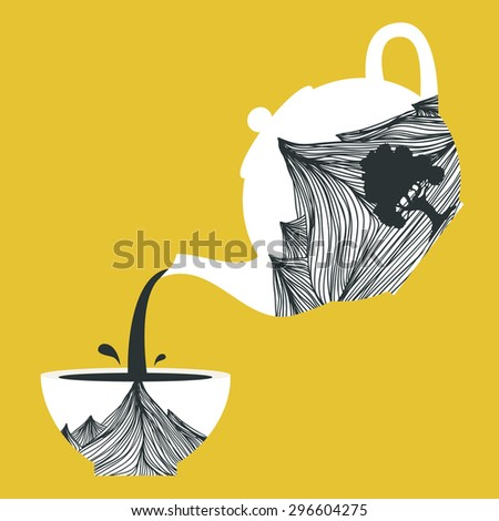 illustration with Teapot with mountains and tree and cup with the same design. Pours tea from a teapot, cup filling symbolic - stock photo