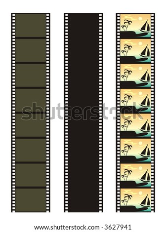 Illustration with the image of a film in several variations. Each figure can be a making circuit of the pictures incorporated in a single whole.