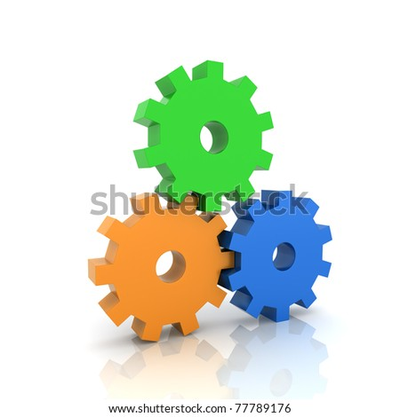 Illustration with three gears teamwork concept (color collection) - stock photo