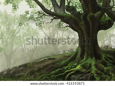 Illustration with tree in the forest with fog