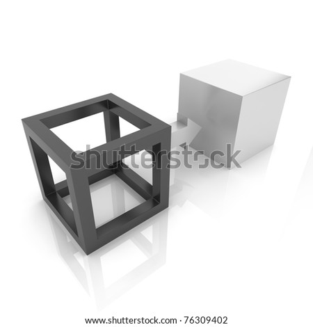 Illustration with two cubes transformation concept (black collection) - stock photo