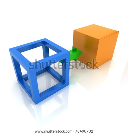 Illustration with two cubes transformation concept (color collection) - stock photo