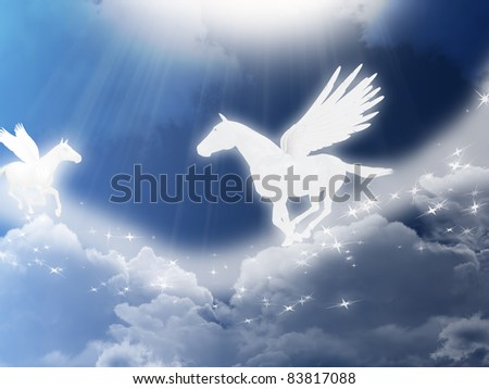 Illustration with two flying pegasus - stock photo