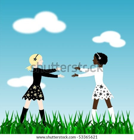 Illustration with two girls, one white, one black, walking to hug each other
