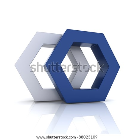 Illustration with union of blue frame hexagons (union concept) - stock photo