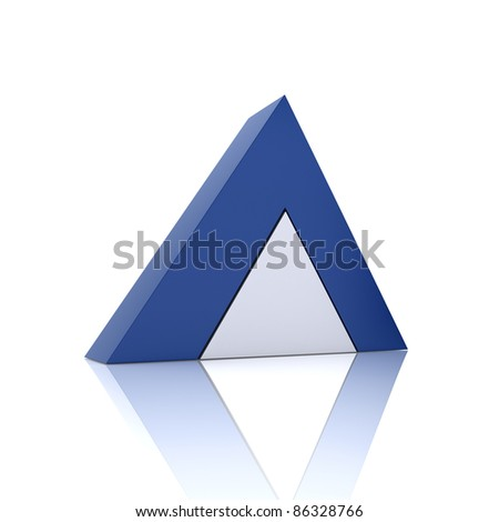Illustration with union of blue pyramids (union concept) - stock photo