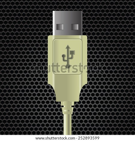 illustration  with USB cable on dark metal perforated background - stock photo