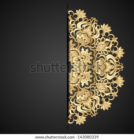 Illustration with vintage gold ornament and place for text. Raster version. - stock photo
