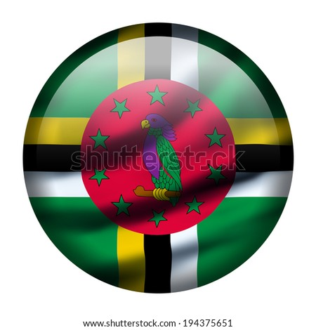 Illustration with waving flag button - Dominica