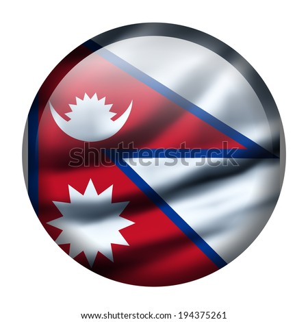 Illustration with waving flag button - Nepal - stock photo