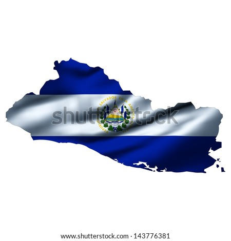 Illustration with waving flag inside map - El Salvador  - stock photo