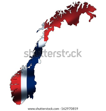 Illustration with waving flag inside map - Norway - stock photo