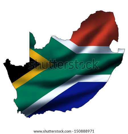 Illustration with waving flag inside map - South Africa - stock photo