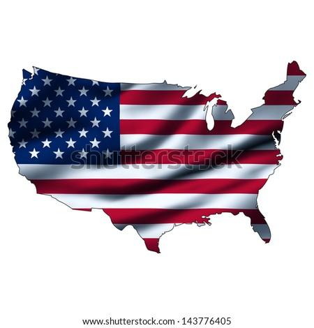 Illustration with waving flag inside map - United States