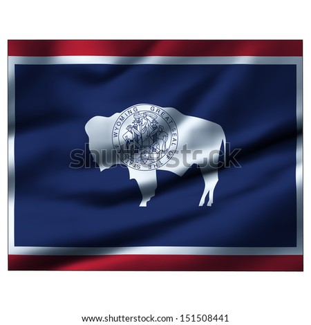 Illustration with waving flag inside map - Wyoming