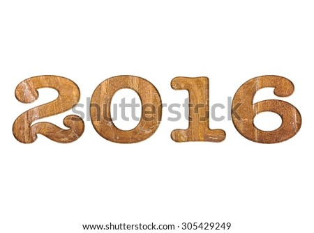 Illustration with 2016 wooden on white background. - stock photo