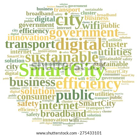 Illustration with word cloud about smart city - stock photo