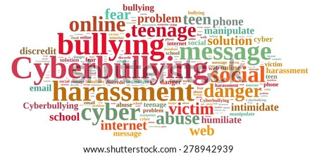 Illustration with word cloud on cyberbullying. - stock photo