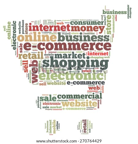 Illustration with word cloud on e-commerce - stock photo