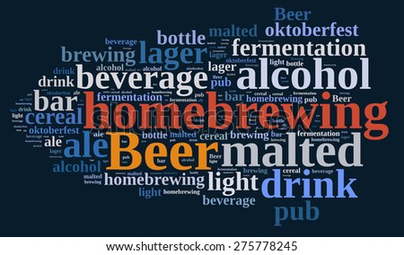 Illustration with word cloud on homebrewing beer