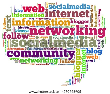 Illustration with word cloud on social media - stock photo