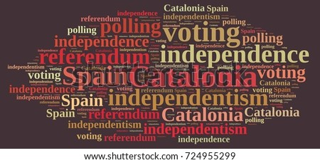 Illustration with word cloud on the referendum in Catalonia, Spain.