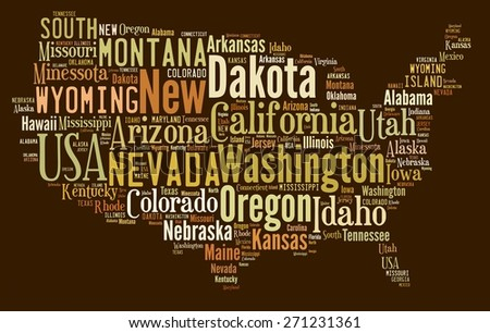 Illustration with word cloud on US states. - stock photo