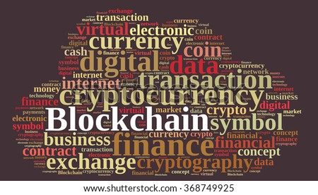 Illustration with word cloud with the word Blockchain.  - stock photo