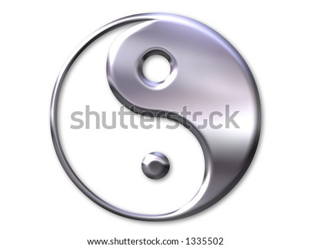 Illustration with yin and yang symbol in silver bevel on white background - stock photo
