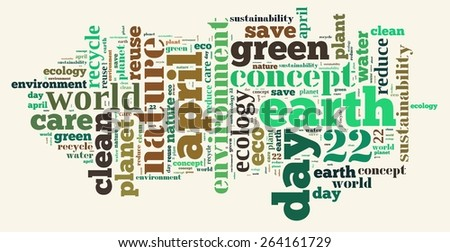 Illustration word cloud on earth day April 22. - stock photo