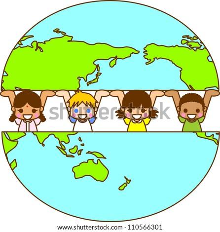 Illustration World Children - stock photo