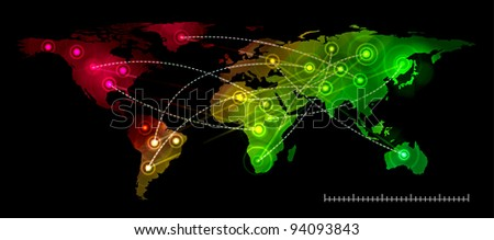 Illustration world map on black. Concept communication. - stock photo