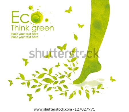 Illustrations foot that steps on the green grass, from watercolor stains, isolated on white background. Think Green. Ecology Concept. - stock photo