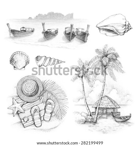 Illustrations of a tropical paradise