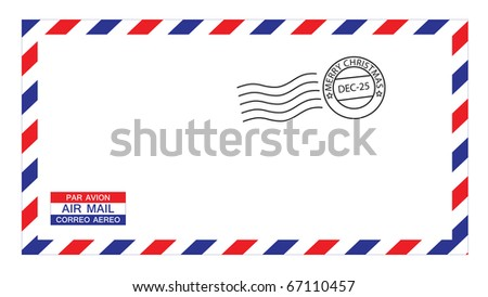 illustrations of airmail envelope with christmas postmark, put your own stamp. - stock photo