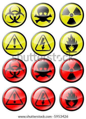 Illustrations of Biohazard/hazard buttons - stock photo