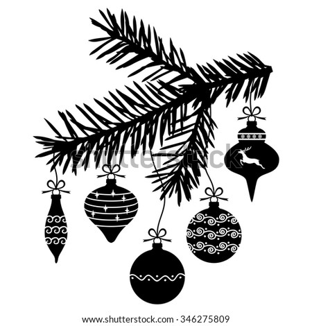 illustrations of Christmas baubles hanging on a fir branch