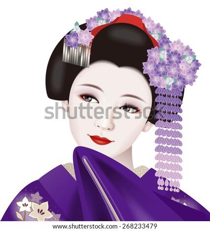 Illustrations of Japanese geisha./ Fashion & ornamental hairpin of September.  - stock photo