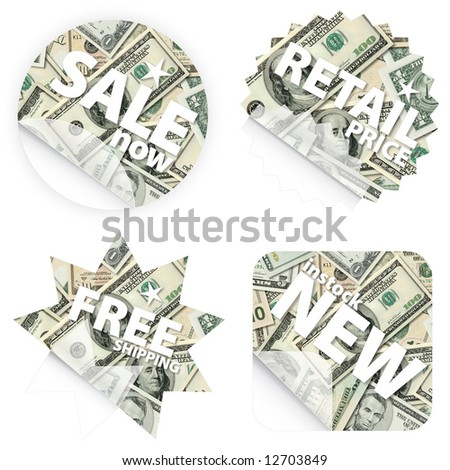 Illustrations of money stickers with Dollar banknotes. Themes include sales, free shipping, retail price and new item in stock.