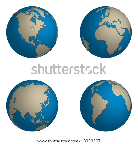 Illustrations of the world, 4 globes showing different parts of the world