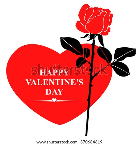 illustrations of Valentines day greeting card in hearts form with red rose