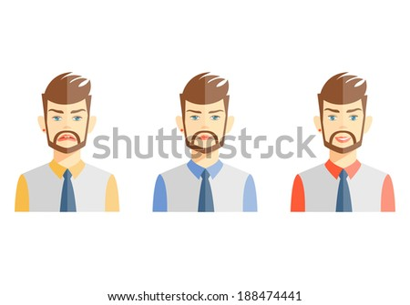 illustrations of young bearded man expressing different emotions on white - stock photo