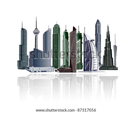 illustrative city buildings - stock photo