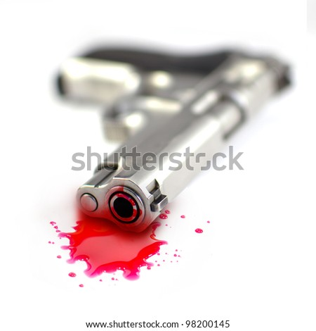 Illustrative styled photograph of a hand gun and blood, on a white background. - stock photo