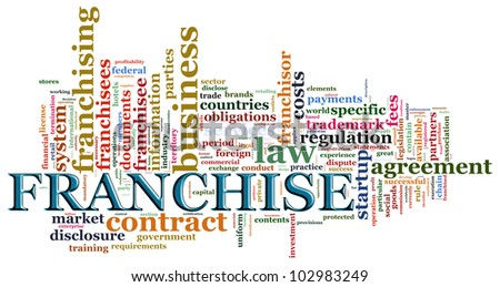 Illustraton of wordcloud related to word franchise - stock photo