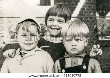 ILOWA, POLAND, CIRCA 1962 - Vintage photo of children - stock photo