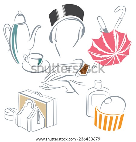 Ilustation set of sketches on the theme of female glamor for the design of diploma, advertisements, envelope, wedding  and other invitations or greeting cards   - stock photo