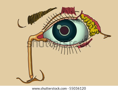 Ilustration of lacrimal apparatus - stock photo